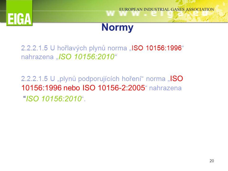 """20 Normy 2.2.2.1.5 U hořlavých plynů norma """"ISO 10156:1996 nahrazena """" ISO 10156:2010 2.2.2.1.5 U """"plynů podporujících hoření norma """" ISO 10156:1996 nebo ISO 10156-2:2005 nahrazena ISO 10156:2010 ."""