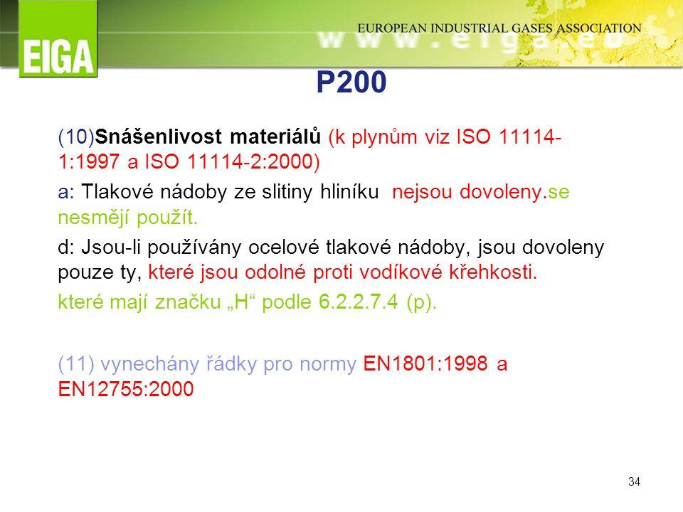 34 P200 (10)Snášenlivost materiálů (k plynům viz ISO 11114- 1:1997 a ISO 11114-2:2000) a: Tlakové nádoby ze slitiny hliníku nejsou dovoleny.se nesmějí použít.