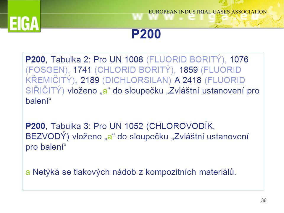 """36 P200 P200, Tabulka 2: Pro UN 1008 (FLUORID BORITÝ), 1076 (FOSGEN), 1741 (CHLORID BORITÝ), 1859 (FLUORID KŘEMIČITÝ), 2189 (DICHLORSILAN) A 2418 (FLUORID SIŘIČITÝ) vloženo """"a do sloupečku """"Zvláštní ustanovení pro balení P200, Tabulka 3: Pro UN 1052 (CHLOROVODÍK, BEZVODÝ) vloženo """"a do sloupečku """"Zvláštní ustanovení pro balení a Netýká se tlakových nádob z kompozitních materiálů."""
