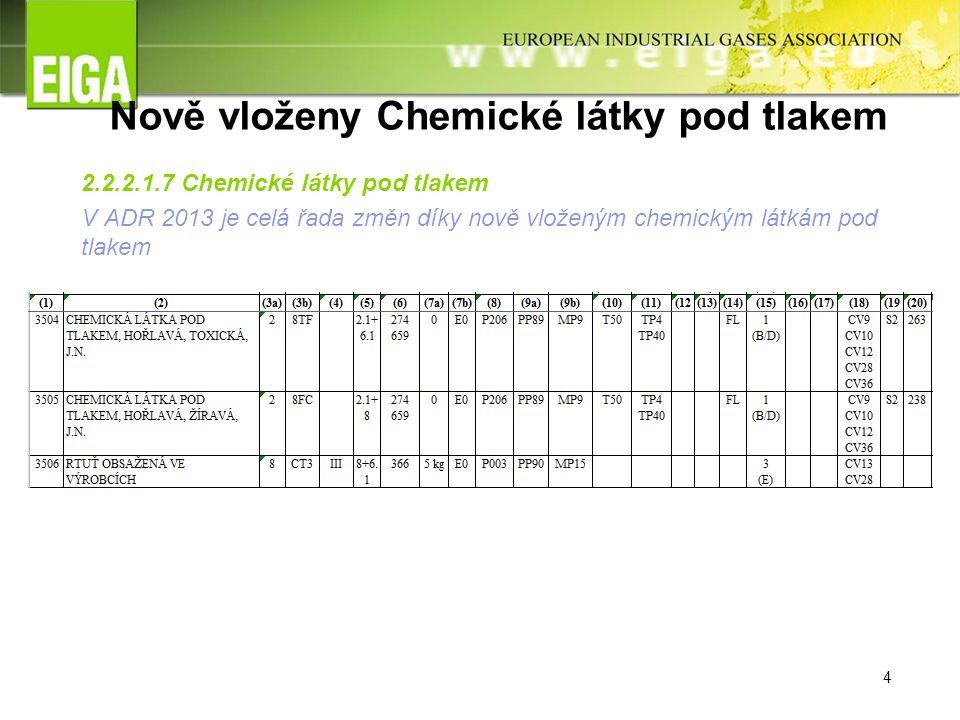 4 Nově vloženy Chemické látky pod tlakem 2.2.2.1.7 Chemické látky pod tlakem V ADR 2013 je celá řada změn díky nově vloženým chemickým látkám pod tlakem