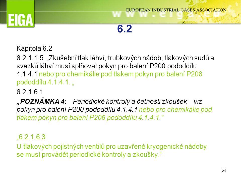 """54 6.2 Kapitola 6.2 6.2.1.1.5 """"Zkušební tlak láhví, trubkových nádob, tlakových sudů a svazků láhví musí splňovat pokyn pro balení P200 pododdílu 4.1.4.1 nebo pro chemikálie pod tlakem pokyn pro balení P206 pododdílu 4.1.4.1."""