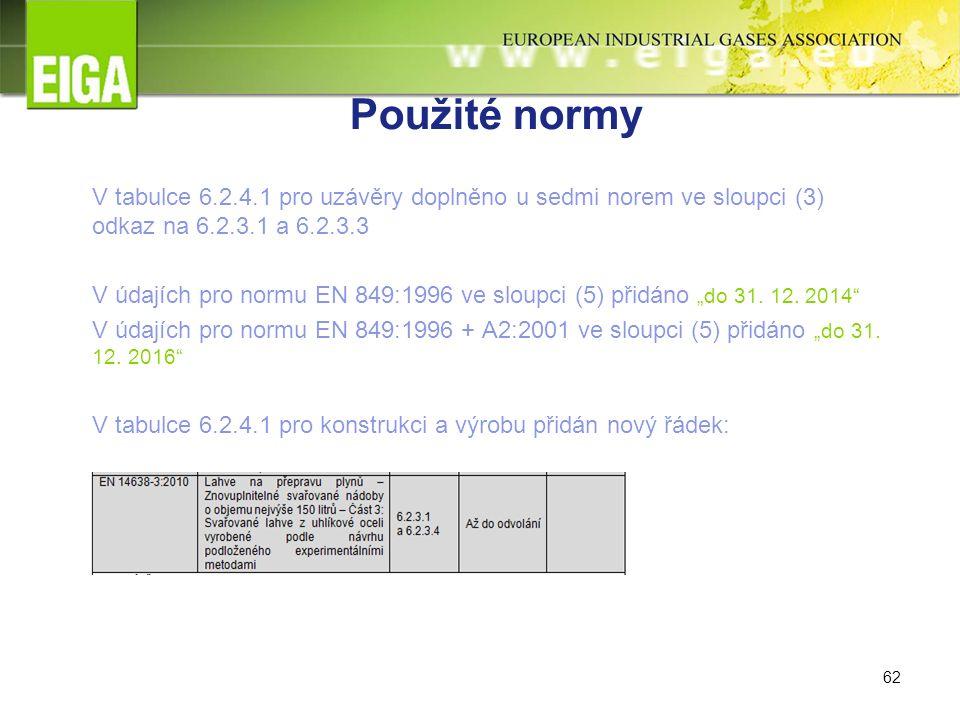 """62 Použité normy V tabulce 6.2.4.1 pro uzávěry doplněno u sedmi norem ve sloupci (3) odkaz na 6.2.3.1 a 6.2.3.3 V údajích pro normu EN 849:1996 ve sloupci (5) přidáno """"do 31."""
