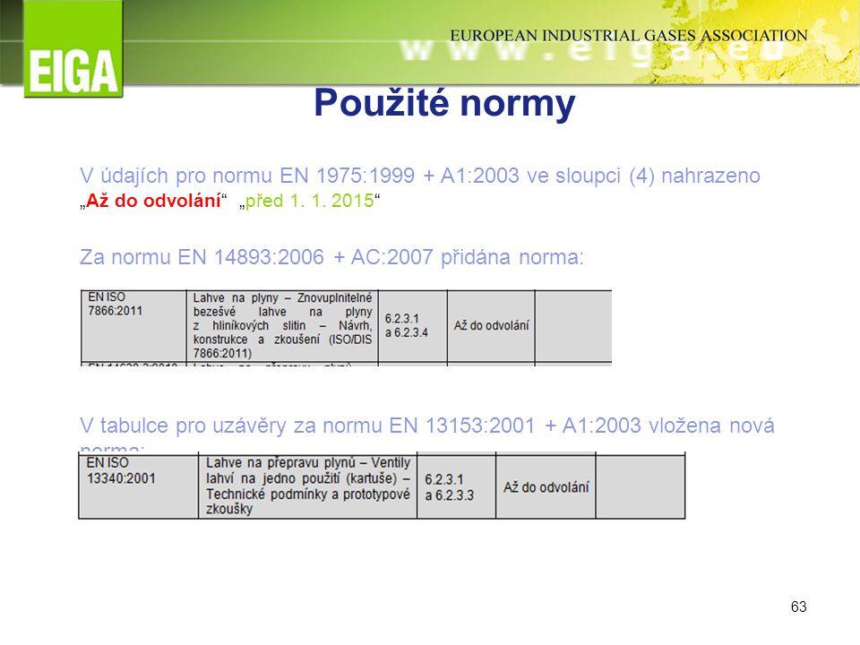 """63 Použité normy V údajích pro normu EN 1975:1999 + A1:2003 ve sloupci (4) nahrazeno """"Až do odvolání """"před 1."""