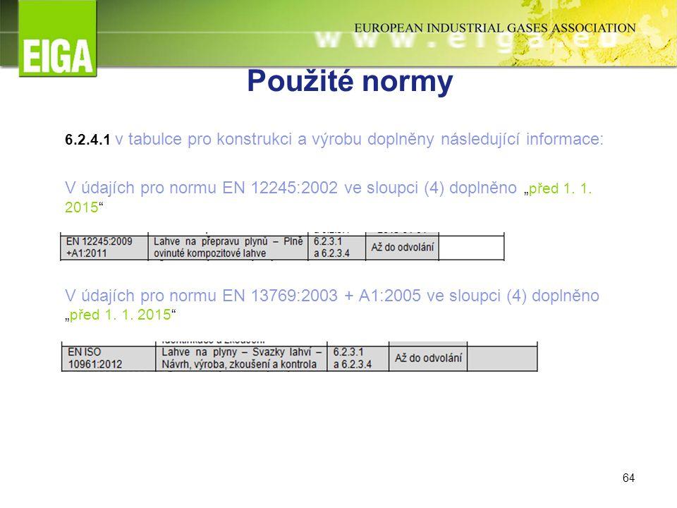 """64 Použité normy 6.2.4.1 v tabulce pro konstrukci a výrobu doplněny následující informace: V údajích pro normu EN 12245:2002 ve sloupci (4) doplněno """"před 1."""