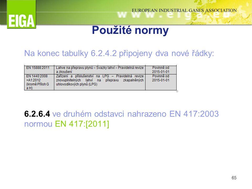 65 Použité normy Na konec tabulky 6.2.4.2 připojeny dva nové řádky: 6.2.6.4 ve druhém odstavci nahrazeno EN 417:2003 normou EN 417:[2011]