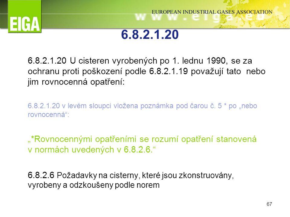 67 6.8.2.1.20 6.8.2.1.20 U cisteren vyrobených po 1.