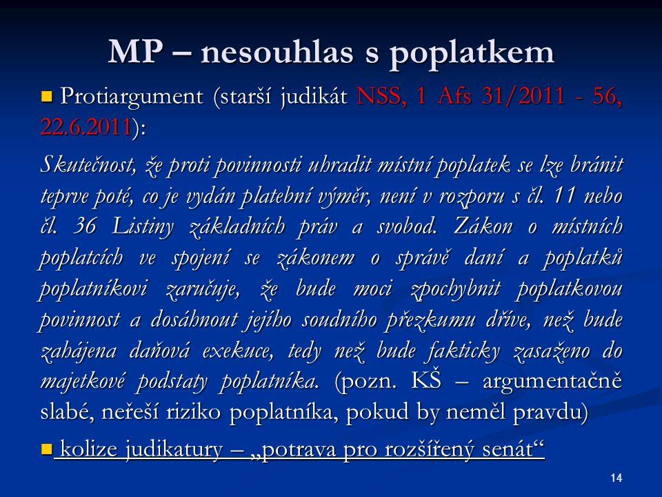 MP – nesouhlas s poplatkem Protiargument (starší judikát NSS, 1 Afs 31/2011 - 56, 22.6.2011): Protiargument (starší judikát NSS, 1 Afs 31/2011 - 56, 22.6.2011): Skutečnost, že proti povinnosti uhradit místní poplatek se lze bránit teprve poté, co je vydán platební výměr, není v rozporu s čl.