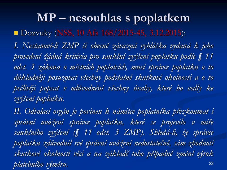 MP – nesouhlas s poplatkem Dozvuky (NSS, 10 Afs 168/2015-45, 3.12.2015): Dozvuky (NSS, 10 Afs 168/2015-45, 3.12.2015): I.