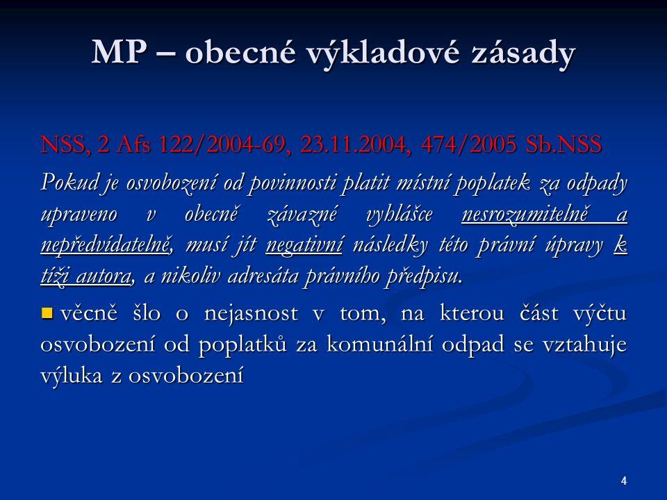 MP – obecné výkladové zásady NSS, 2 Afs 122/2004-69, 23.11.2004, 474/2005 Sb.NSS Pokud je osvobození od povinnosti platit místní poplatek za odpady upraveno v obecně závazné vyhlášce nesrozumitelně a nepředvídatelně, musí jít negativní následky této právní úpravy k tíži autora, a nikoliv adresáta právního předpisu.