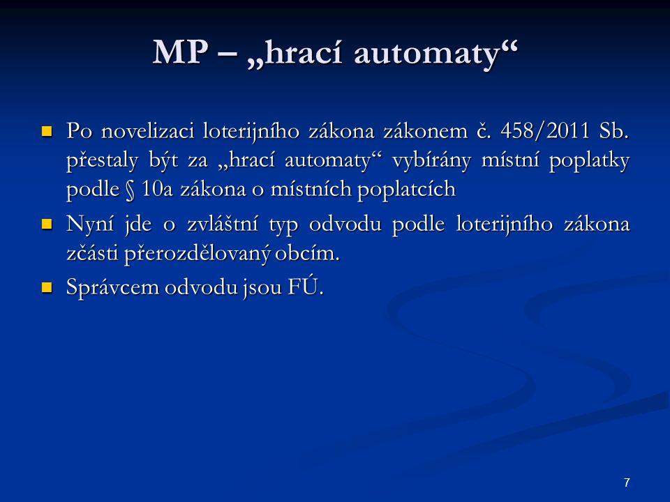 """MP – """"hrací automaty Po novelizaci loterijního zákona zákonem č."""