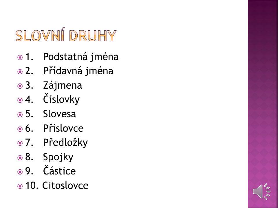Každé slovo můžeme přiřadit k jednomu z deseti slovních druhů