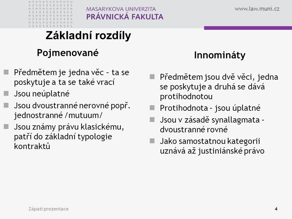 www.law.muni.cz Zápatí prezentace4 Pojmenované Předmětem je jedna věc – ta se poskytuje a ta se také vrací Jsou neúplatné Jsou dvoustranné nerovné popř.