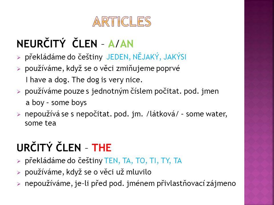 NEURČITÝ ČLEN – A/AN  překládáme do češtiny JEDEN, NĚJAKÝ, JAKÝSI  používáme, když se o věci zmiňujeme poprvé I have a dog.
