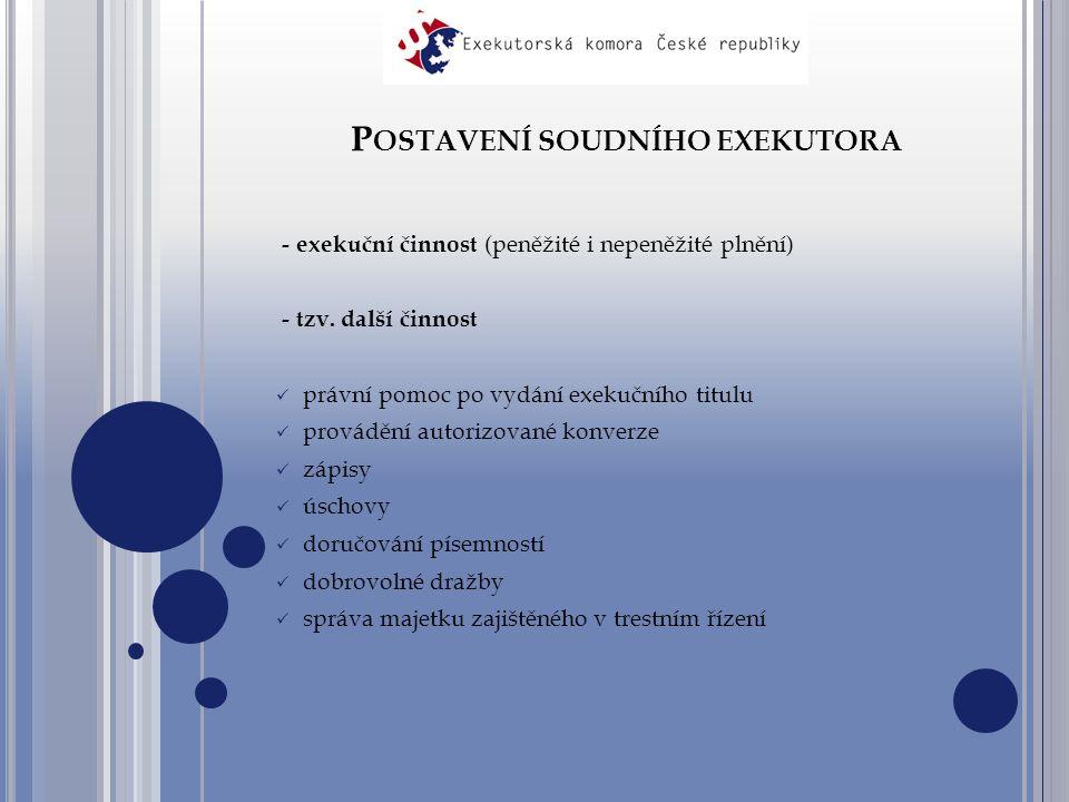 P OSTAVENÍ SOUDNÍHO EXEKUTORA - exekuční činnost (peněžité i nepeněžité plnění) - tzv.