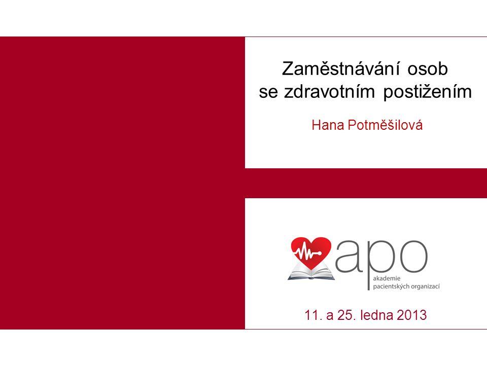 Zaměstnávání osob se zdravotním postižením Hana Potměšilová 11. a 25. ledna 2013