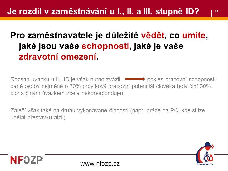 11 Je rozdíl v zaměstnávání u I., II. a III. stupně ID.