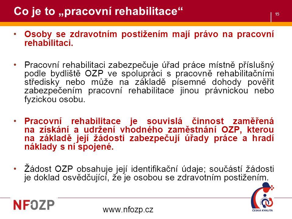 """15 Co je to """"pracovní rehabilitace"""" Osoby se zdravotním postižením mají právo na pracovní rehabilitaci. Pracovní rehabilitaci zabezpečuje úřad práce m"""