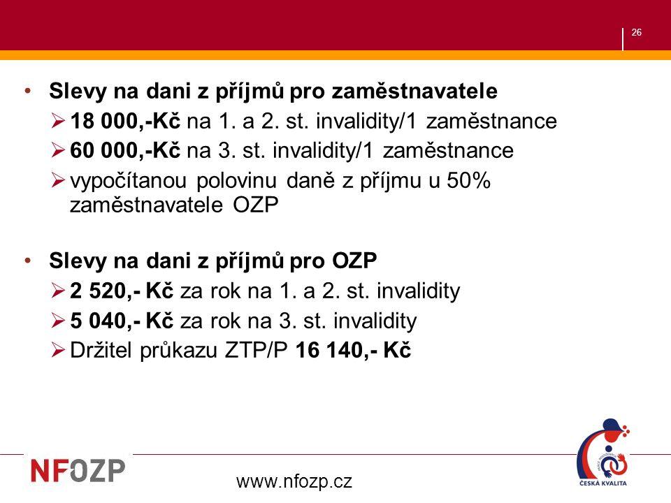 26 Slevy na dani z příjmů pro zaměstnavatele  18 000,-Kč na 1.