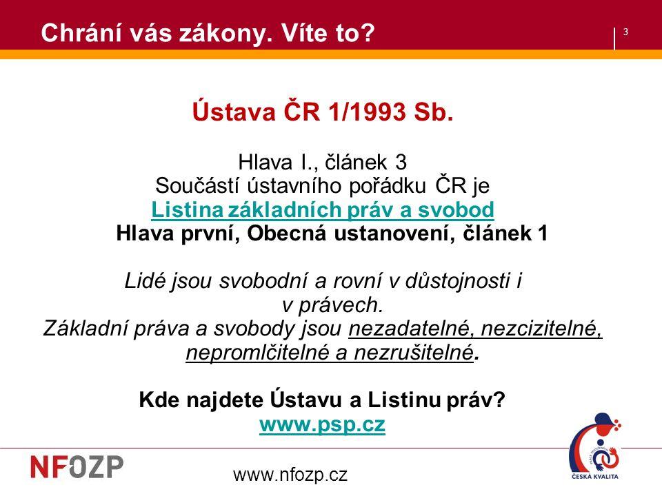 3 Chrání vás zákony. Víte to. Ústava ČR 1/1993 Sb.