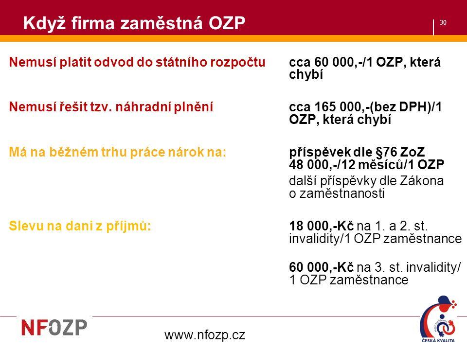 30 Když firma zaměstná OZP Nemusí platit odvod do státního rozpočtu cca 60 000,-/1 OZP, která chybí Nemusí řešit tzv.