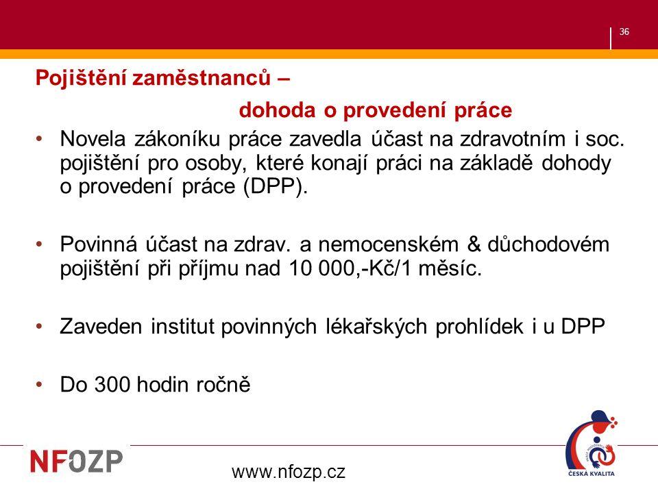 36 Pojištění zaměstnanců – dohoda o provedení práce Novela zákoníku práce zavedla účast na zdravotním i soc.
