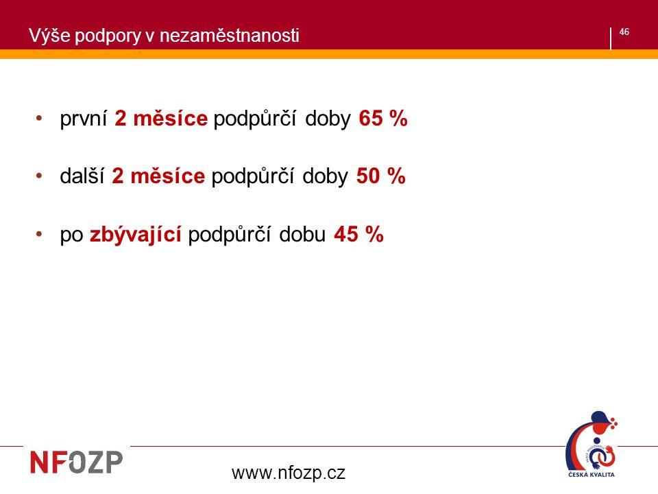 46 první 2 měsíce podpůrčí doby 65 % další 2 měsíce podpůrčí doby 50 % po zbývající podpůrčí dobu 45 % www.nfozp.cz Výše podpory v nezaměstnanosti