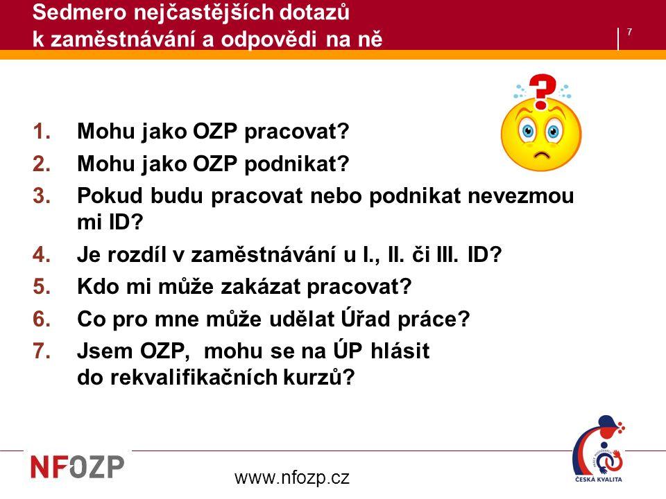 7 Sedmero nejčastějších dotazů k zaměstnávání a odpovědi na ně 1.Mohu jako OZP pracovat.