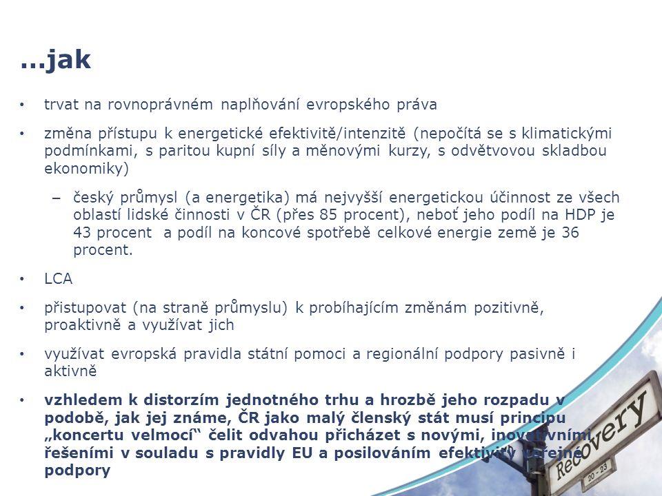 …jak trvat na rovnoprávném naplňování evropského práva změna přístupu k energetické efektivitě/intenzitě (nepočítá se s klimatickými podmínkami, s paritou kupní síly a měnovými kurzy, s odvětvovou skladbou ekonomiky) – český průmysl (a energetika) má nejvyšší energetickou účinnost ze všech oblastí lidské činnosti v ČR (přes 85 procent), neboť jeho podíl na HDP je 43 procent a podíl na koncové spotřebě celkové energie země je 36 procent.