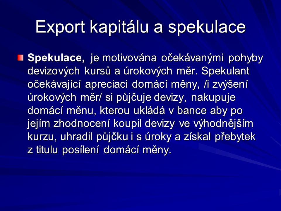 Export kapitálu a spekulace Spekulace, je motivována očekávanými pohyby devizových kursů a úrokových měr.