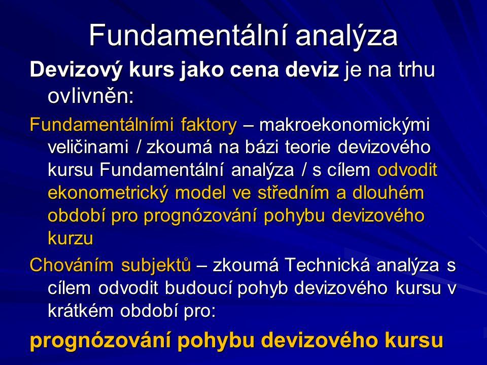 Fundamentální analýza Devizový kurs jako cena deviz je na trhu ovlivněn: Fundamentálními faktory – makroekonomickými veličinami / zkoumá na bázi teorie devizového kursu Fundamentální analýza / s cílem odvodit ekonometrický model ve středním a dlouhém období pro prognózování pohybu devizového kurzu Chováním subjektů – zkoumá Technická analýza s cílem odvodit budoucí pohyb devizového kursu v krátkém období pro: prognózování pohybu devizového kursu