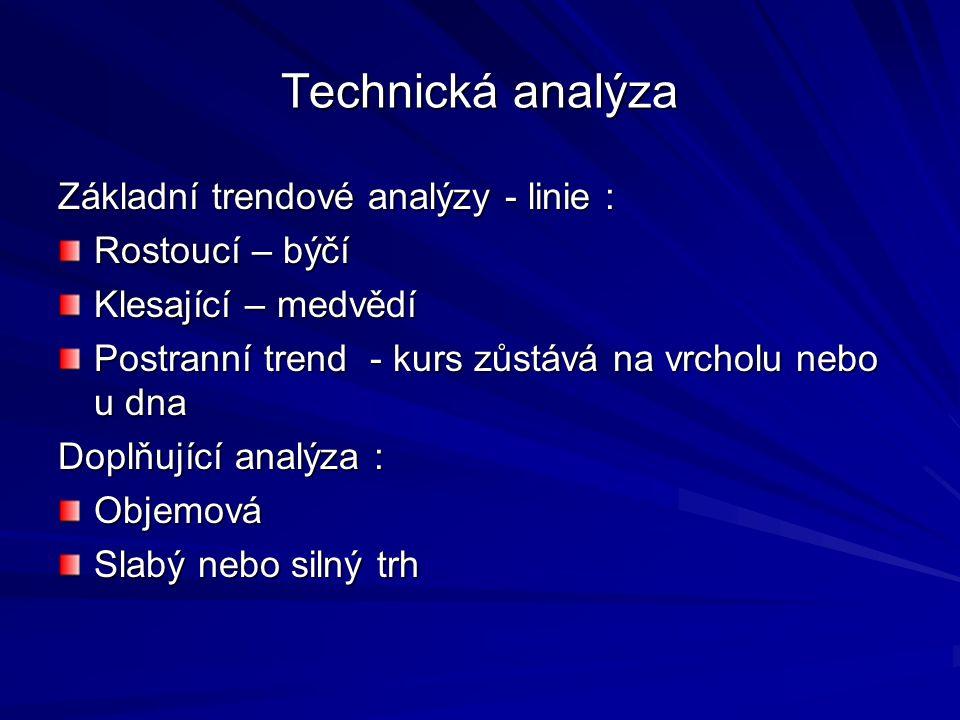 Technická analýza Základní trendové analýzy - linie : Rostoucí – býčí Klesající – medvědí Postranní trend - kurs zůstává na vrcholu nebo u dna Doplňující analýza : Objemová Slabý nebo silný trh