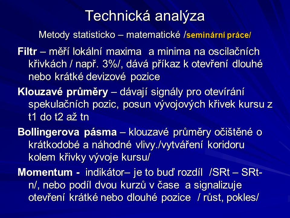 Technická analýza Metody statisticko – matematické / seminární práce/ Filtr – měří lokální maxima a minima na oscilačních křivkách / např.