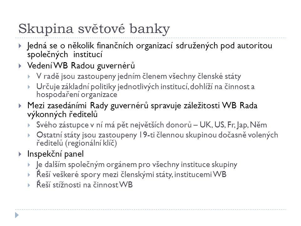 Skupina světové banky  Jedná se o několik finančních organizací sdružených pod autoritou společných institucí  Vedení WB Radou guvernérů  V radě js