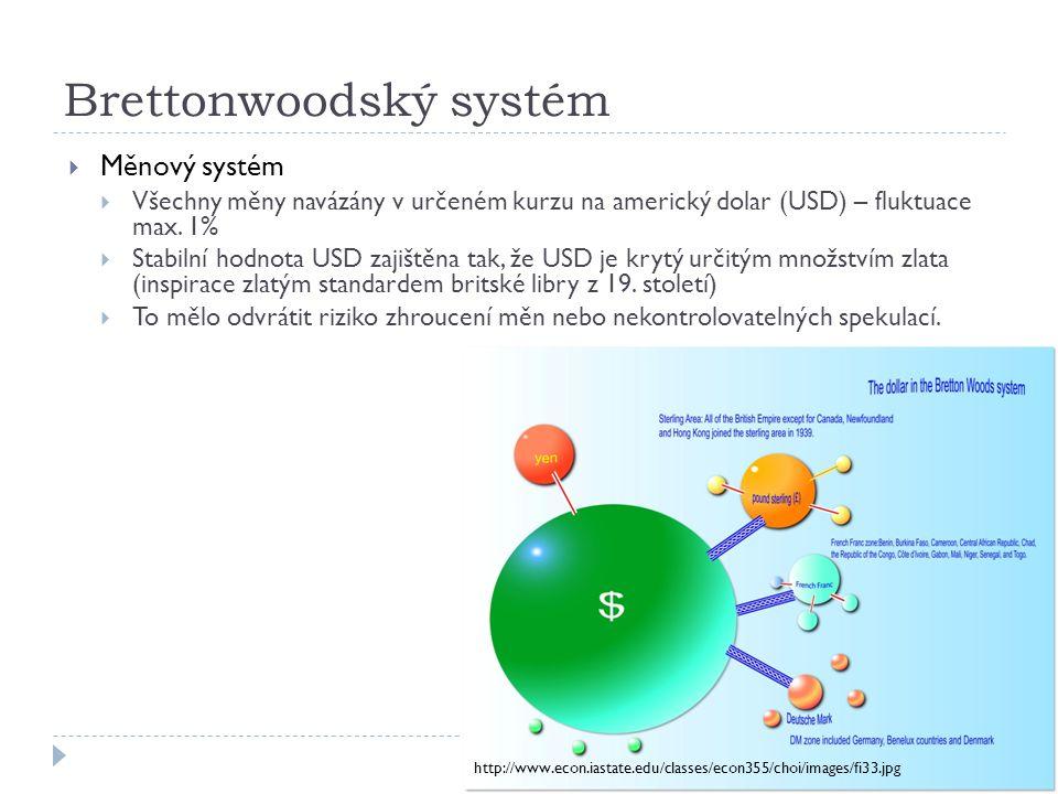 Brettonwoodský systém  Měnový systém  Všechny měny navázány v určeném kurzu na americký dolar (USD) – fluktuace max. 1%  Stabilní hodnota USD zajiš