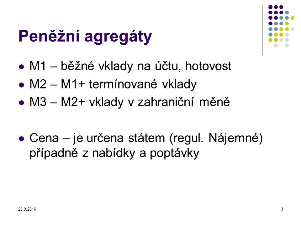 Peněžní agregáty M1 – běžné vklady na účtu, hotovost M2 – M1+ termínované vklady M3 – M2+ vklady v zahraniční měně Cena – je určena státem (regul.