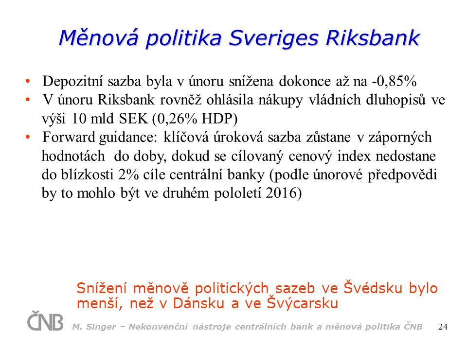 Měnová politika Sveriges Riksbank Snížení měnově politických sazeb ve Švédsku bylo menší, než v Dánsku a ve Švýcarsku Depozitní sazba byla v únoru snížena dokonce až na -0,85% V únoru Riksbank rovněž ohlásila nákupy vládních dluhopisů ve výši 10 mld SEK (0,26% HDP) Forward guidance: klíčová úroková sazba zůstane v záporných hodnotách do doby, dokud se cílovaný cenový index nedostane do blízkosti 2% cíle centrální banky (podle únorové předpovědi by to mohlo být ve druhém pololetí 2016) M.