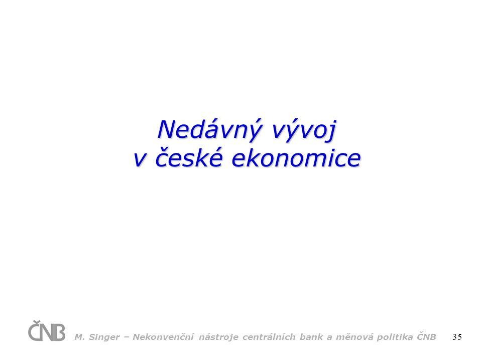 Nedávný vývoj v české ekonomice M.