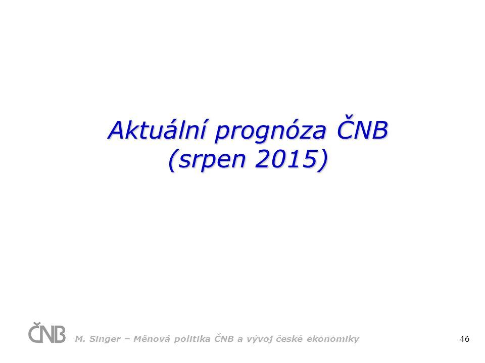 Aktuální prognóza ČNB (srpen 2015) M. Singer – Měnová politika ČNB a vývoj české ekonomiky 46
