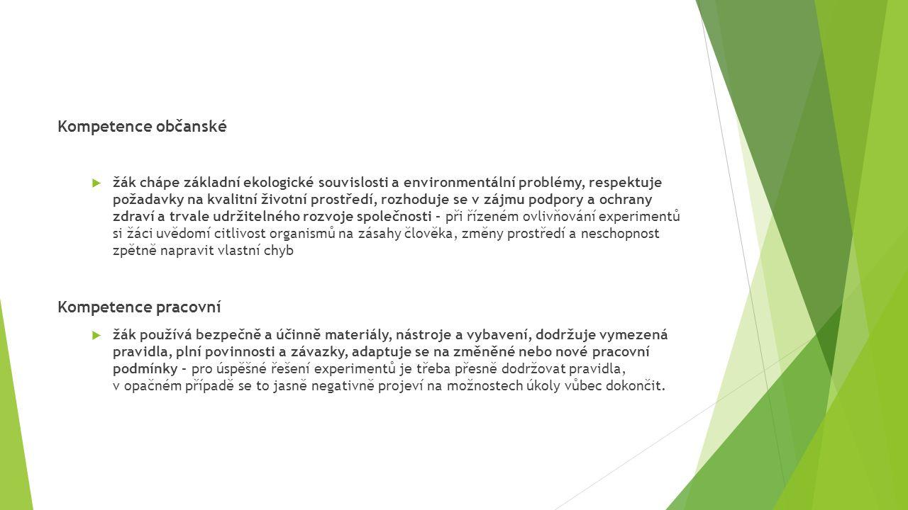 Kompetence občanské  žák chápe základní ekologické souvislosti a environmentální problémy, respektuje požadavky na kvalitní životní prostředí, rozhod