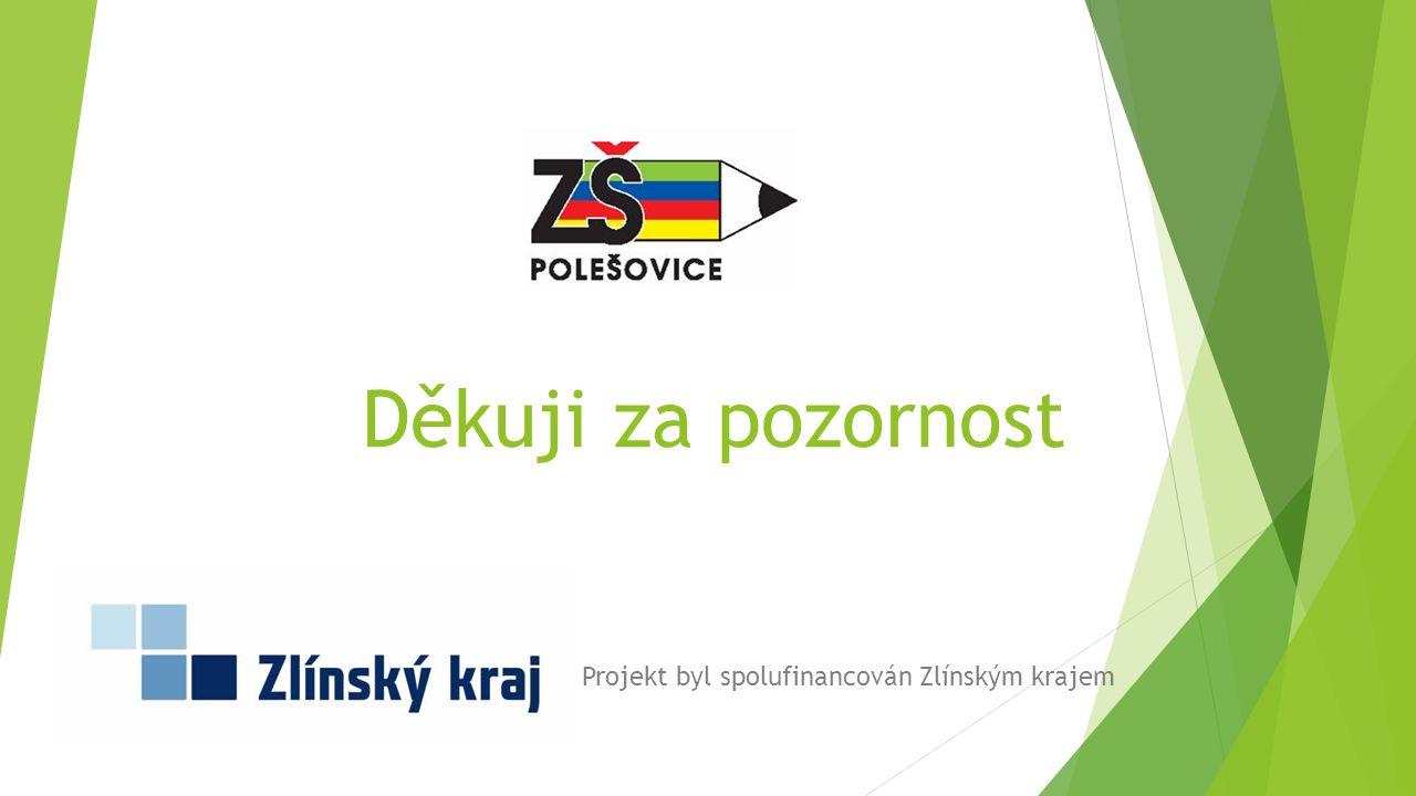 Děkuji za pozornost Projekt byl spolufinancován Zlínským krajem