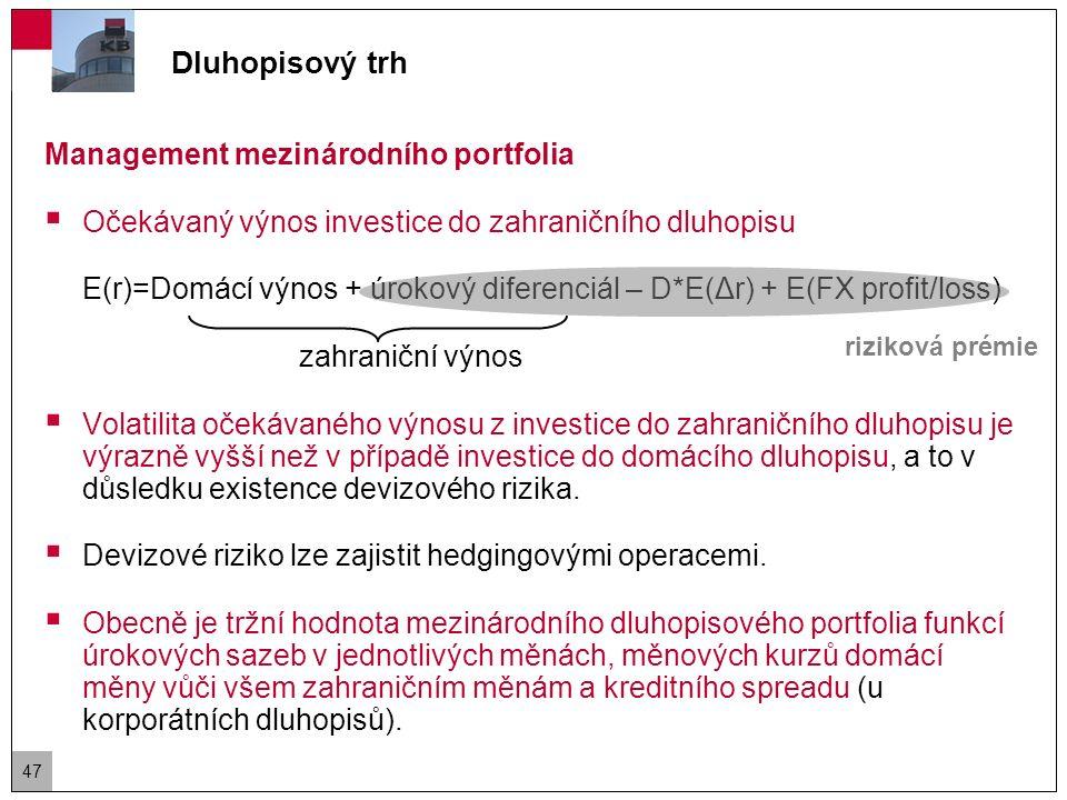 Dluhopisový trh Management mezinárodního portfolia Příklad:  Britská společnost drží americký státní dluhopis (U.S.Treasury) s cenou 100 a durací 10.