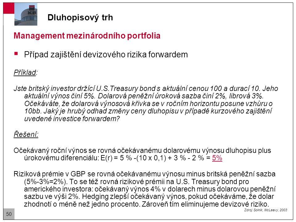 Dluhopisový trh Management mezinárodního portfolia  Případ zajištění devizového rizika forwardem Příklad: Jste britský investor držící U.S.Treasury bond s aktuální cenou 100 a durací 15.