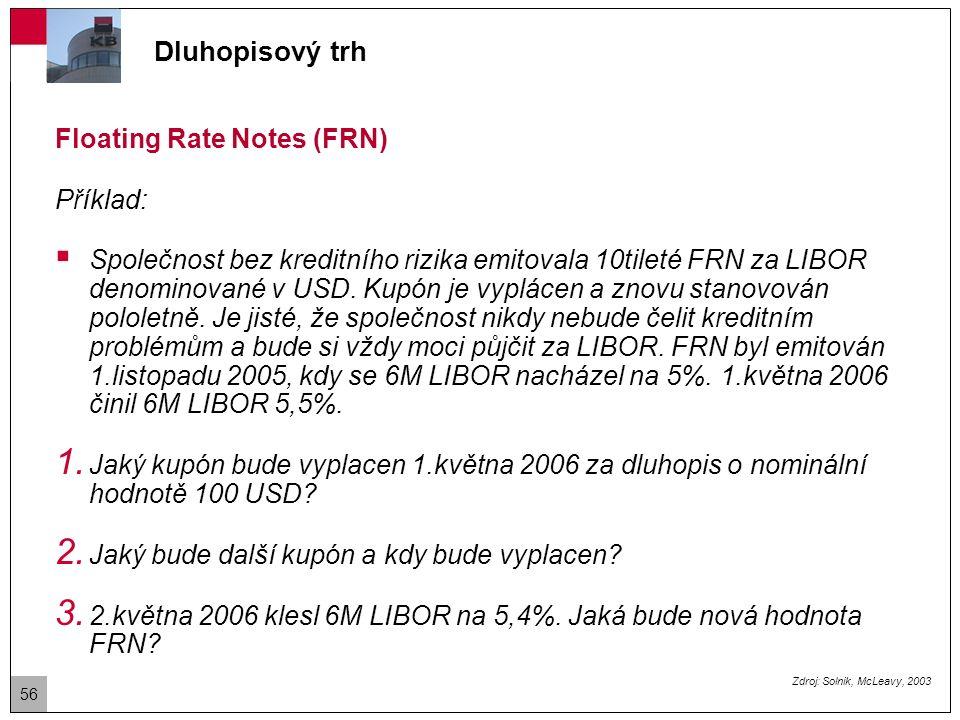 Floating Rate Notes (FRN) Řešení: 1.