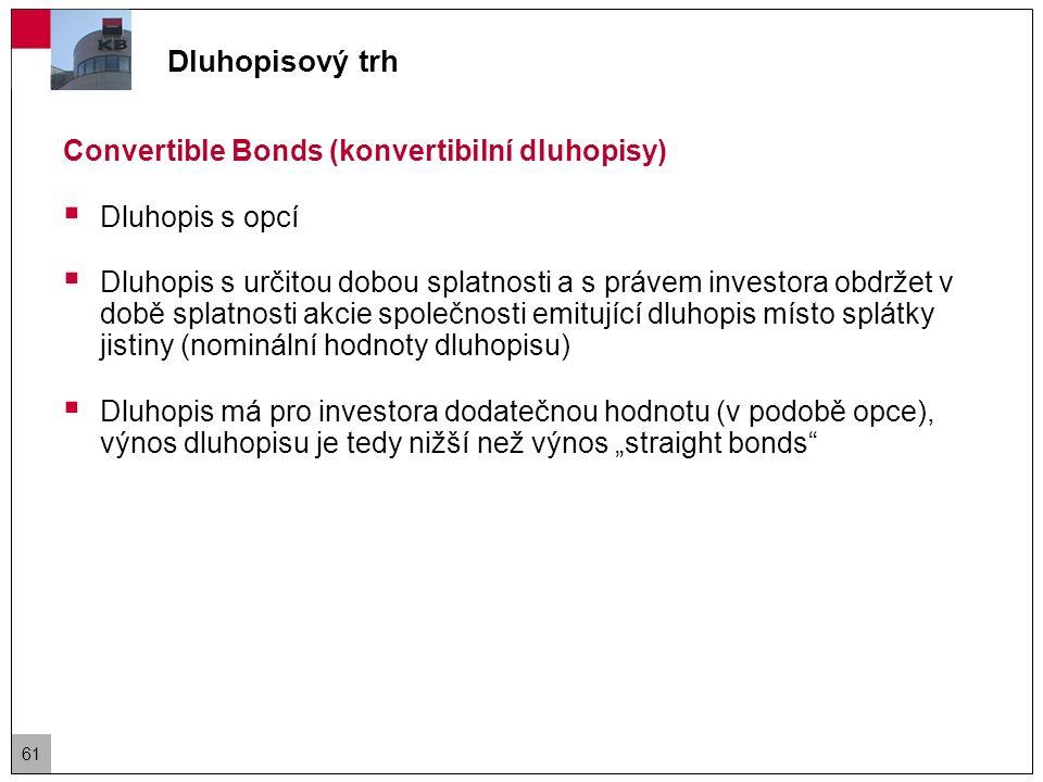 Dluhopisový trh Callable Bonds  Dluhopis, kde emitent má právo po splnění určitých podmínek splatit emisi před řádnou splatností (k tzv.