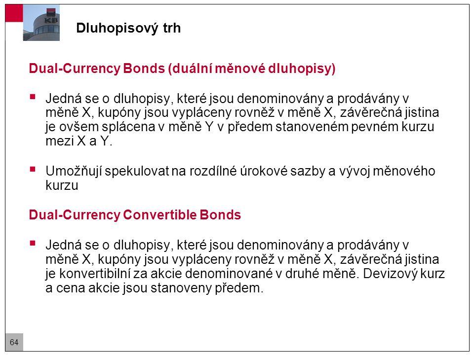 Dluhopisový trh Dual-Currency Bond Příklad  Společnost plánuje emitovat desetiletý duální měnový dluhopis v nominální hodnotě 100 mil USD a kupónem placeným pololetně v JPY.