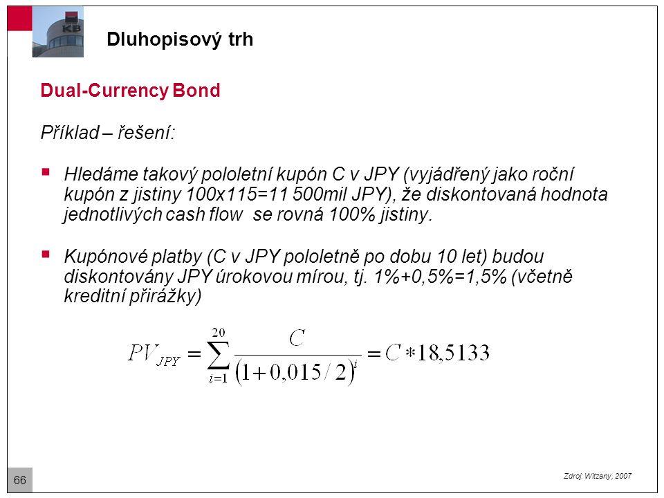 Dluhopisový trh Dual-Currency Bond Příklad – řešení  Splátka jistiny (v USD) bude diskontována dolarovou úrokovou mírou + kreditní spread, tj.