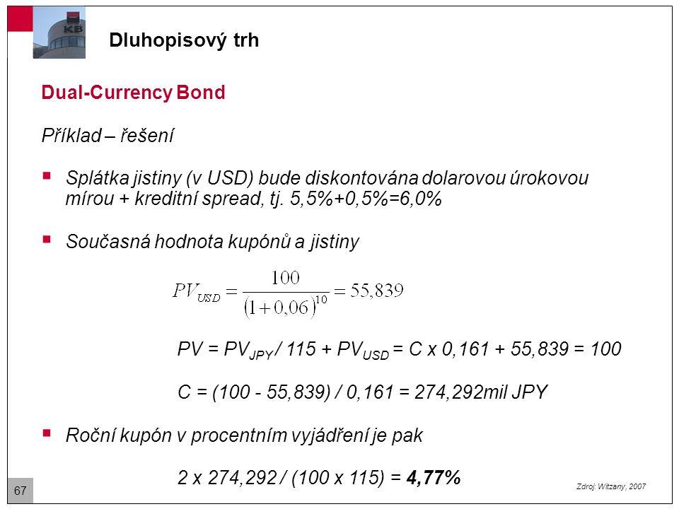 Dluhopisový trh Currency-option Bonds  Tento dluhopis dává investorovi právo obdržet úroky a jistinu ve zvolené měně.