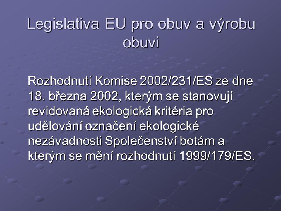 Legislativa EU pro obuv a výrobu obuvi Rozhodnutí Komise 2002/231/ES ze dne 18.