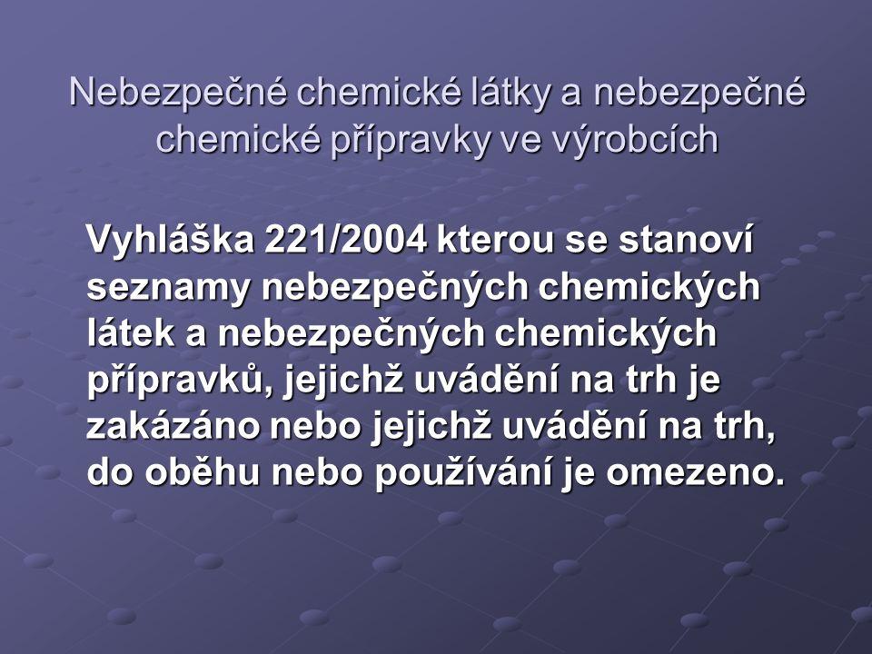 Nebezpečné chemické látky a nebezpečné chemické přípravky ve výrobcích Vyhláška 221/2004 kterou se stanoví seznamy nebezpečných chemických látek a nebezpečných chemických přípravků, jejichž uvádění na trh je zakázáno nebo jejichž uvádění na trh, do oběhu nebo používání je omezeno.