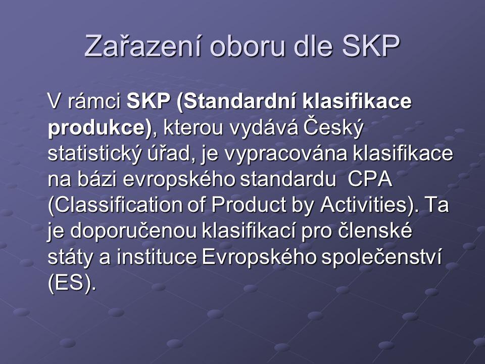 Zařazení oboru dle SKP V rámci SKP (Standardní klasifikace produkce), kterou vydává Český statistický úřad, je vypracována klasifikace na bázi evropského standardu CPA (Classification of Product by Activities).
